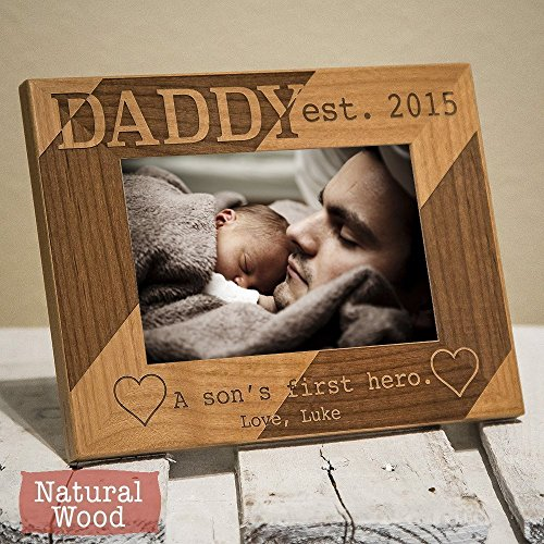 Country Oak Picture Frame (Personalized Daddy Picture Frame - Dad Christmas Gift From Son - Dad Christmas Gift From Children - Dad Picture Frame From Son - HHDPF)