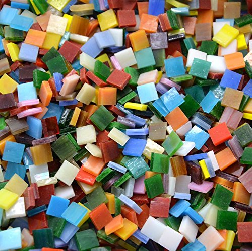 Lanyani 800 Pieces Mosaic Tiles Stained Glass   Assorted Colors For Art Craft And Home Decorations   500G 1 1Lb