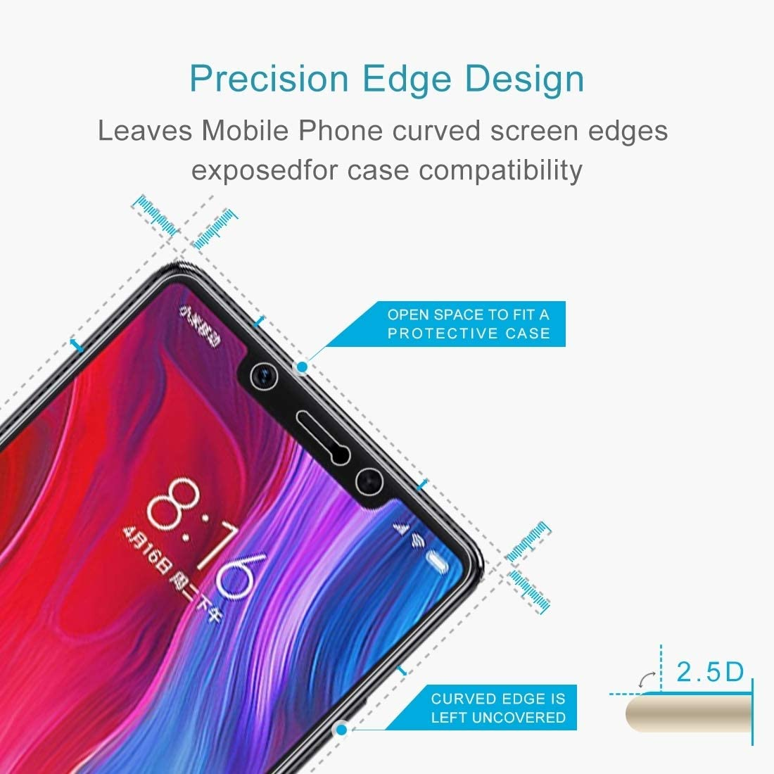 ProtectoresYHM 100 PCS 0.26mm 9H 2.5D Tempered Glass Film for Xiaomi Mi 8 SE