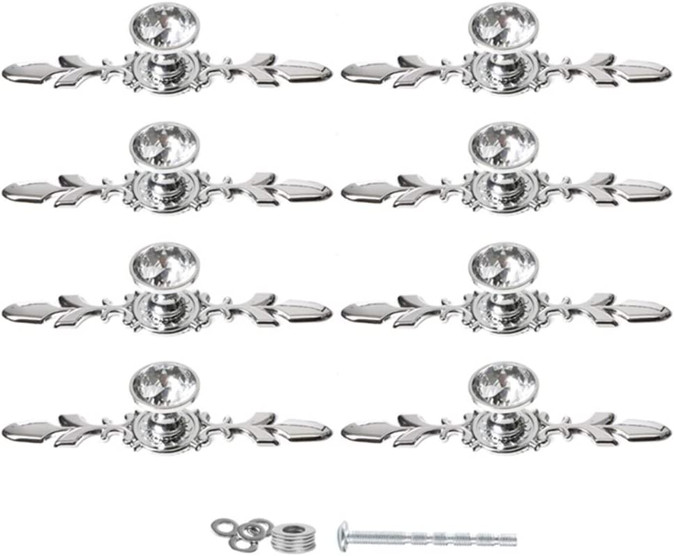 "Fvstar 8pcs 6.7"" Diamond Cabinet Knobs Clear Crystal Glass Dresser Drawer Pulls Cupboard Handles Vanity Furniture Wardrobe Door Hardware for Kitchen Bedroom Bathroom"