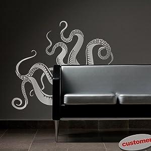 Octopus Tentacles Vinyl Wall Decal Sea Monster Sticker Kraken Decal Squid Wall Graphic Home Art Decoration Slate Gray