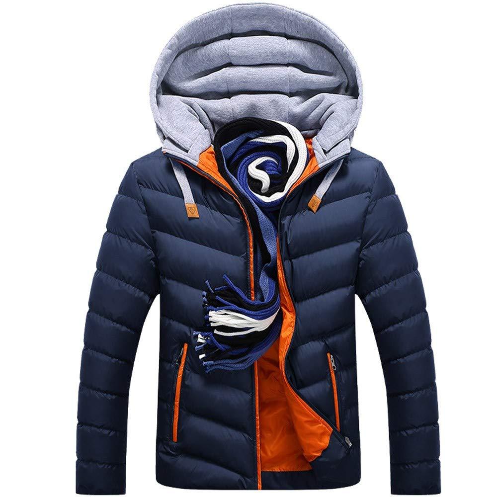 Casual Warm Winter Hat Detachable Zipper Coat Outwear Jacket Top Blouse YKARITIANNA Men Big Boys Quilted Lightweighted Coats