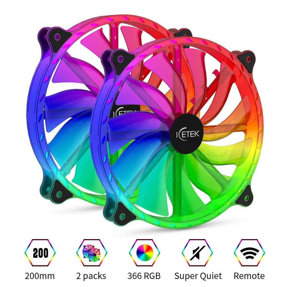 RGB Cooling Fans for Computer Case 200mm Colorful Kit LED PC Computer Fan,2 Pack