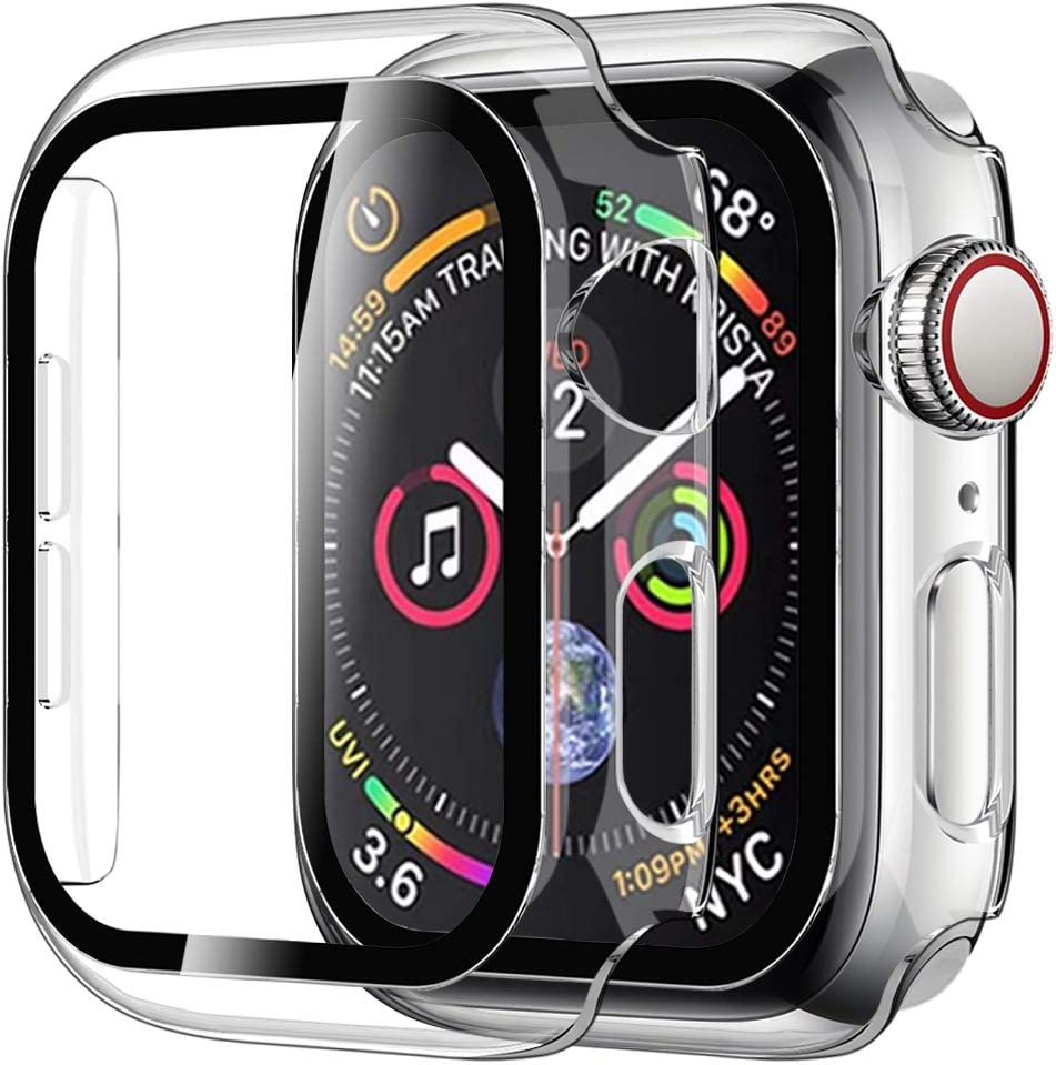 [2 Pack] Casok Hard Case Compatible with Apple Watch Series 3/2/1 42mm Built-in Tempered Glass Screen Protector, Full ProtectionCoverage Hard Cover for Series 3/2/1 (42mm, Clear)