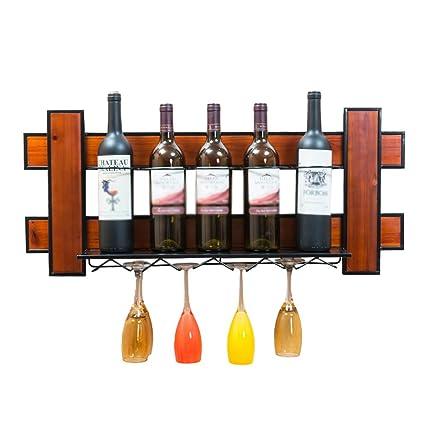 Fei Teng Estante para vinos: Bastidor para vinos de 5 Botellas de Pared y Marco
