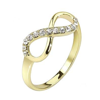 Mianova Damen Ring Edelstahl Infinity Unendlichkeit Mit Zirkonia In