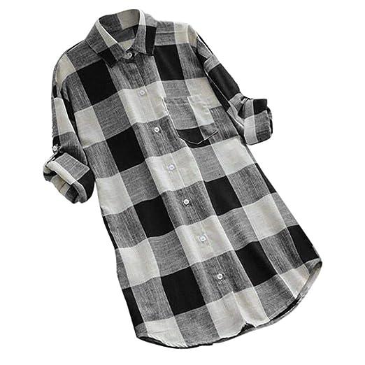 8918dd1dd3ebed iZHH Womens Shirts O-Neck Lattice Print Long Sleeve Buttons Casual Tops T- Shirt