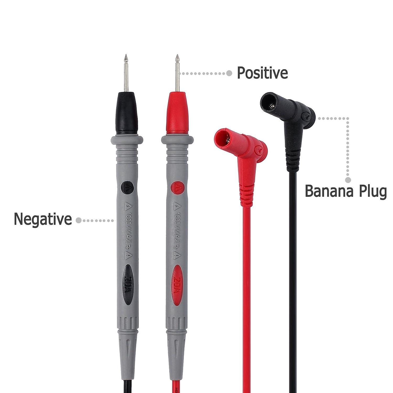 Proster Cables de Prueba del Mult/ímetro 1 Par 15A 31.5 en el Enchufe del Pl/átano al Cable del Prueba del Clip del Cocodrilo Para Mult/ímetro 0.8M 4mm Mult/ímetro para Servicio Pesado