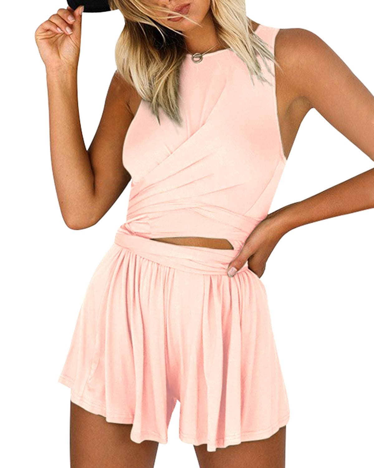 252892323ba Amazon.com  YOINS Women Playsuit Rompers Convertible Plunge Sexy V Neck  Sleeveless Backless Jumpsuits  Clothing