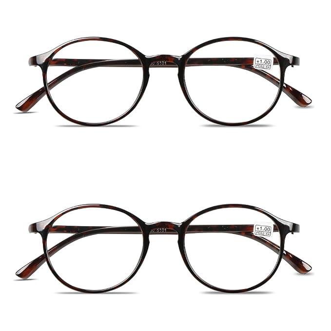 03c758a19d VEVESMUNDO Gafas de Lectura Flexibles Redonda Grande Mujer Hombre Retro Anteojos  Presbicia Leer Lejos Graduadas Vista 1.0 1.5 2.0 2.5 3.0 3.5 4.0 Marrón ...