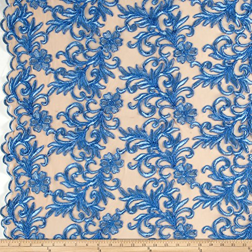 Ben Textiles Inc. Heavyweight Embroidered Mesh Lace Blue Fabric By The Yard (Heavyweight Lace)