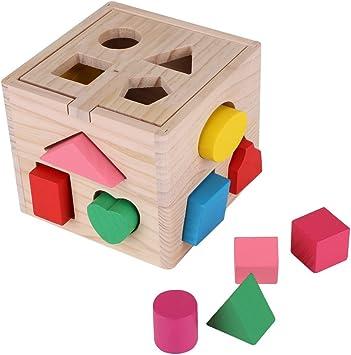 Zerodis - Caja de 13 agujeros para ordenar juguetes educativos para niños, diseño de rompecabezas de madera colorida: Amazon.es: Juguetes y juegos