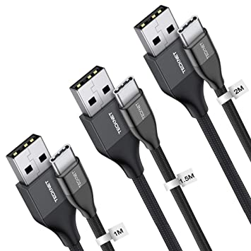 TECKNET Cable USB C (1M / 1.5M / 2M), Cable Tipo C Cable de Cargador Cable de Datos, Trenzado de Nylon para Galaxy, Nexus 5X / 6P, Xiaomi, ChromeBook ...