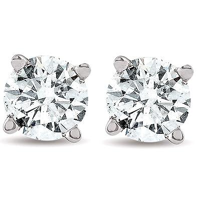 c4afa6b66 Amazon.com  1 2 cttw Round Cut Diamond Studs 14k White Gold Womens ...