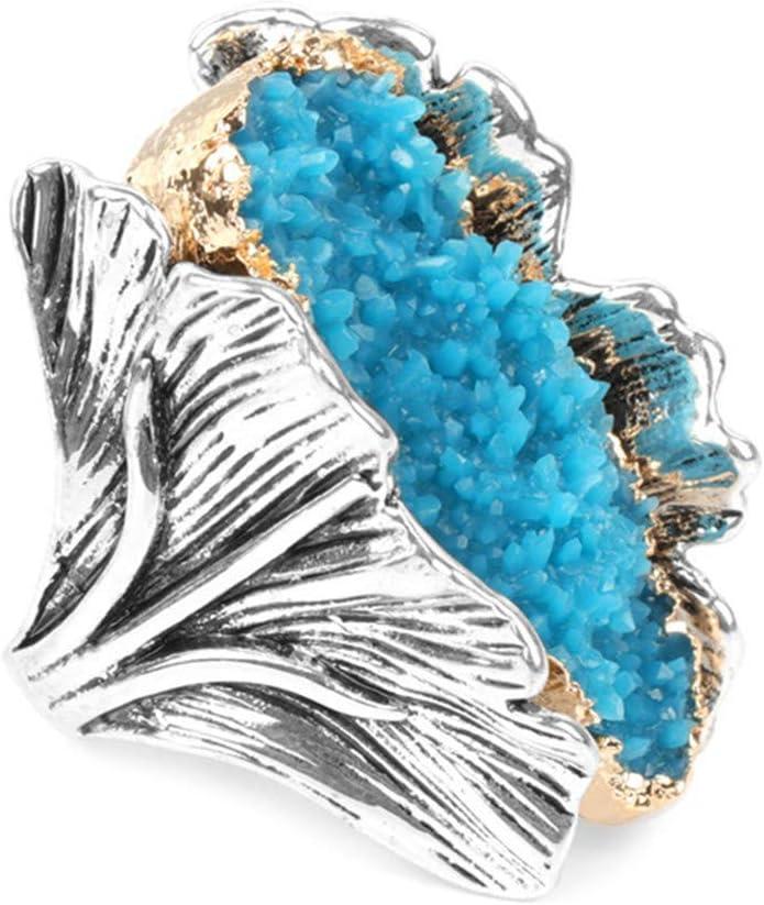 Simplicidad con Estilo Nueva Piedra Preciosa Natural Anillo Retro para Mujer Plata Antigua Moda Cristal Rojo Flor Novia Anillo de Bodas Regalo de Fiesta 9 Azul, DZ
