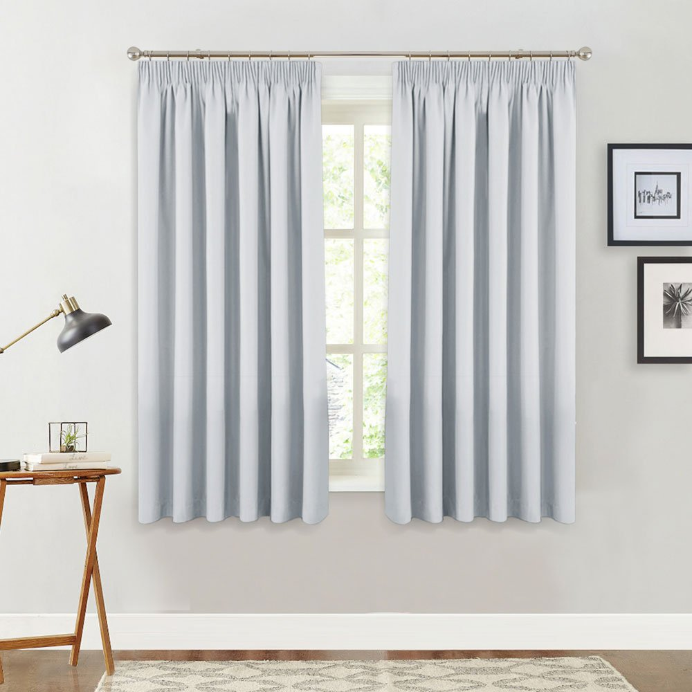 PONYDANCE White Window Curtains For Bedroom Plain Room Darkening Noise Reducing Treatments Blackout Curtain Drapes