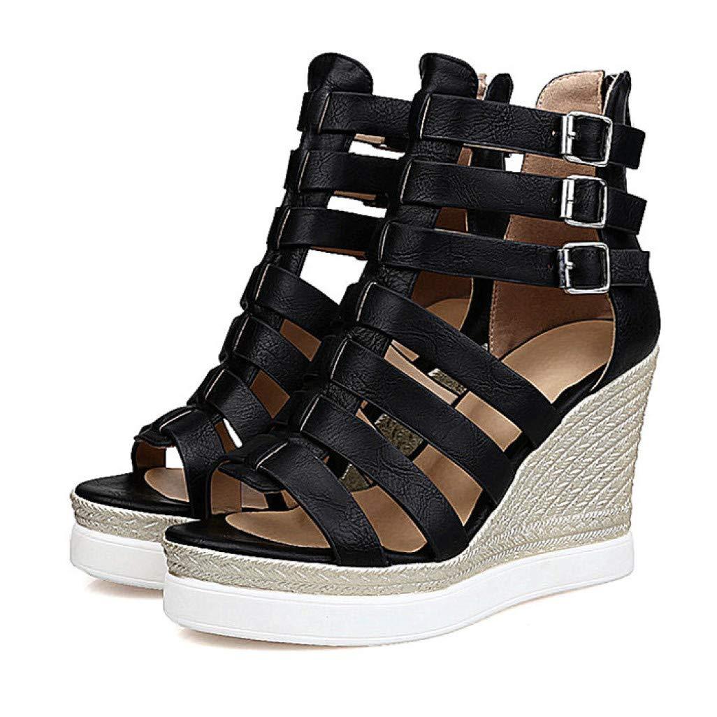 Black MEIZOKEN Women's Strappy Gladiator Sandals Casual Peep Toe Non-Slip shoes Cutout Ankle Buckle Platform Wedge Sandal