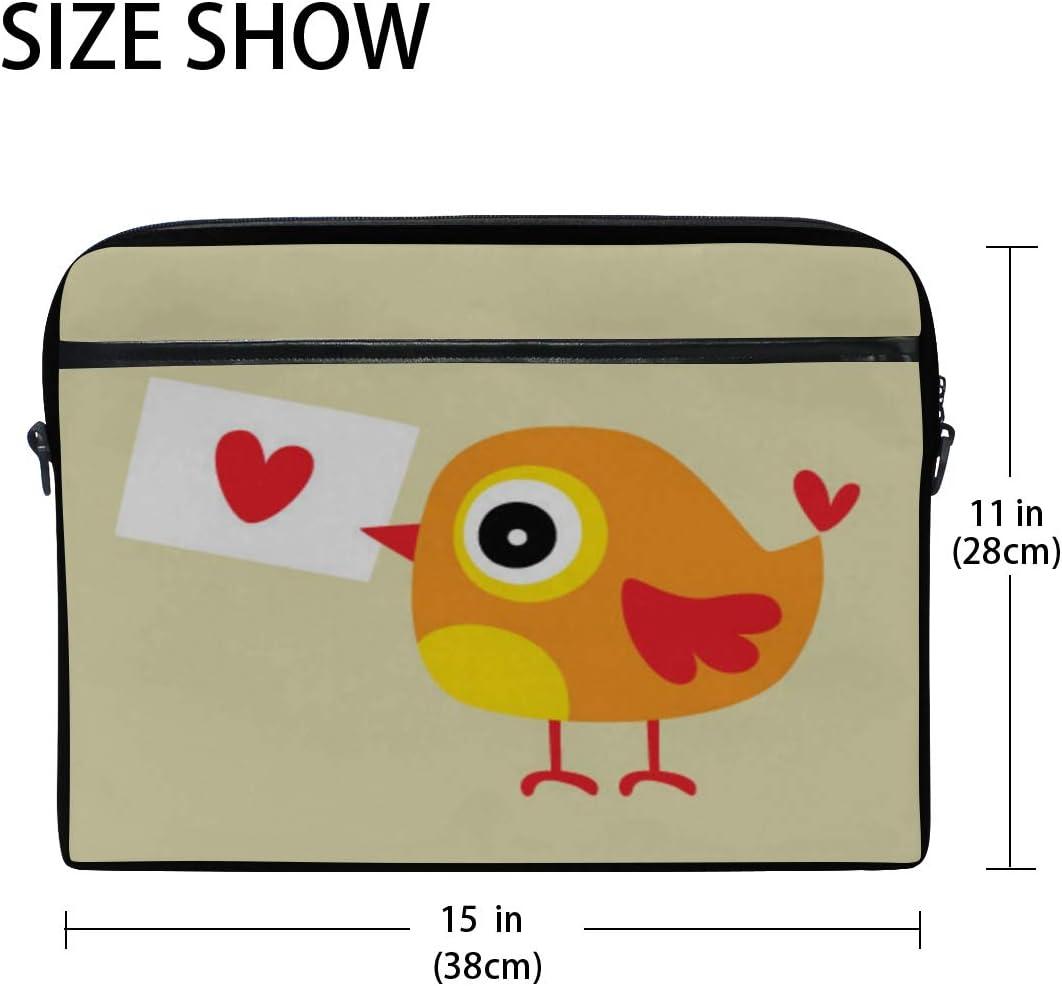 Briefcase Messenger Shoulder Bag for Men Women Laptop Bag Bird Love Letter 15-15.4 Inch Laptop Case College Students Business People Office Workers