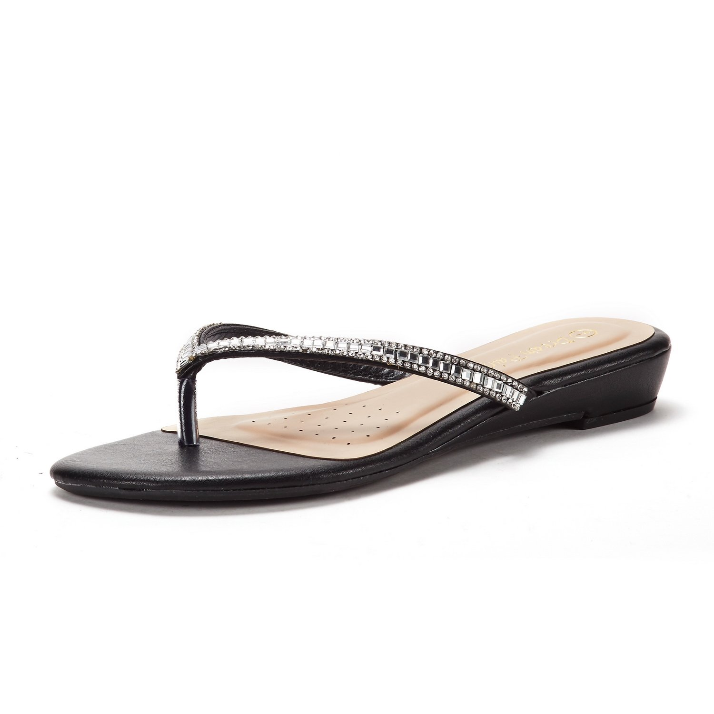 DREAM PAIRS Women's Jewel_03 Black Fashion Rhinestones Design Slides Sandals Size 8 M US
