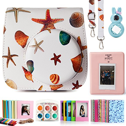 CAIUL Compatible Mini 8 Camera Case Bundle with Album, Filters & Other Accessories for Fujifilm Instax Mini 9 8 8+ (Starfish & Seashells, 7 - Seashells What Are Made Of