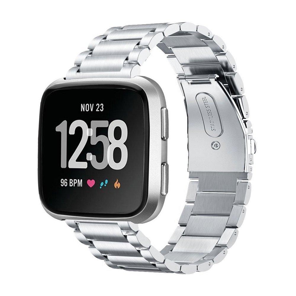 isenxi Fitbit VersaバンドプレミアムソリッドステンレススチールWatchブレスレット調節可能な折りたたみクラスプ付き交換ストラップバンドメタルWristbands for Fitbit Versa Smart Watch  シルバー B07CQMPDGG