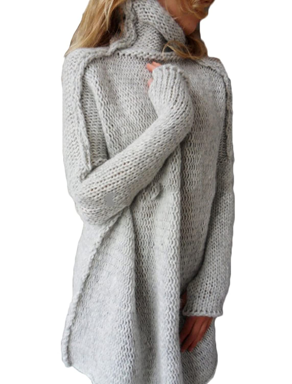 Finego Women Turtle Neck Long Sleeve Pullover Long Sweater Mini Sweater Dress