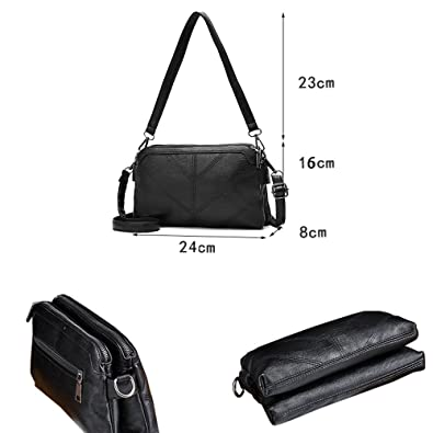 c2b8ec43ae La Derkia Women s Fashion Small Shoulder Bag Clutch Handbag Zipper  Crossbody Wallet Purse (Black 2