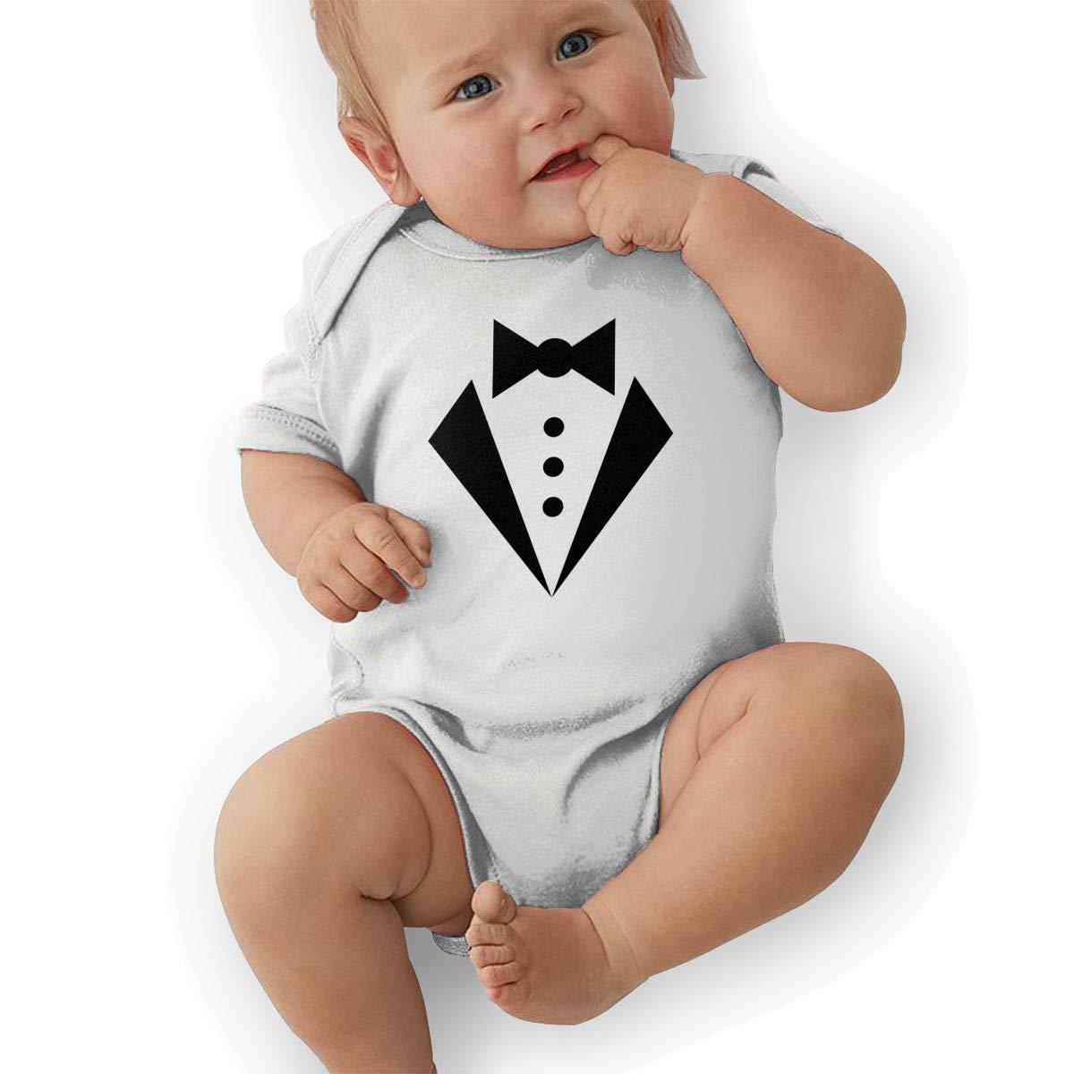 Infant Baby Girls Bodysuit Short-Sleeve Onesie Tuxedo White Print Rompers Summer Pajamas