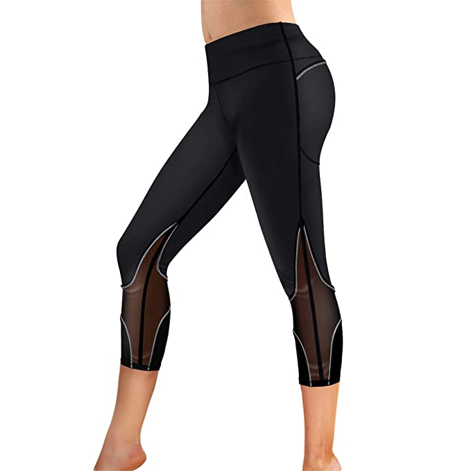 f4e207cb44611 Rolewpy Women's Yoga Pants Tummy Control High Waist Gym Workout Running  Leggings with Pockets (Black