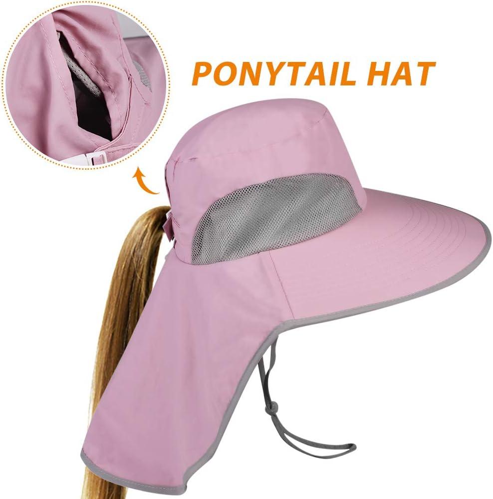FURTALK Safari Sun Hats for Women Wide Brim Neck Flap Ponytail UPF Outdoor Fishing Hiking Hat for Canada