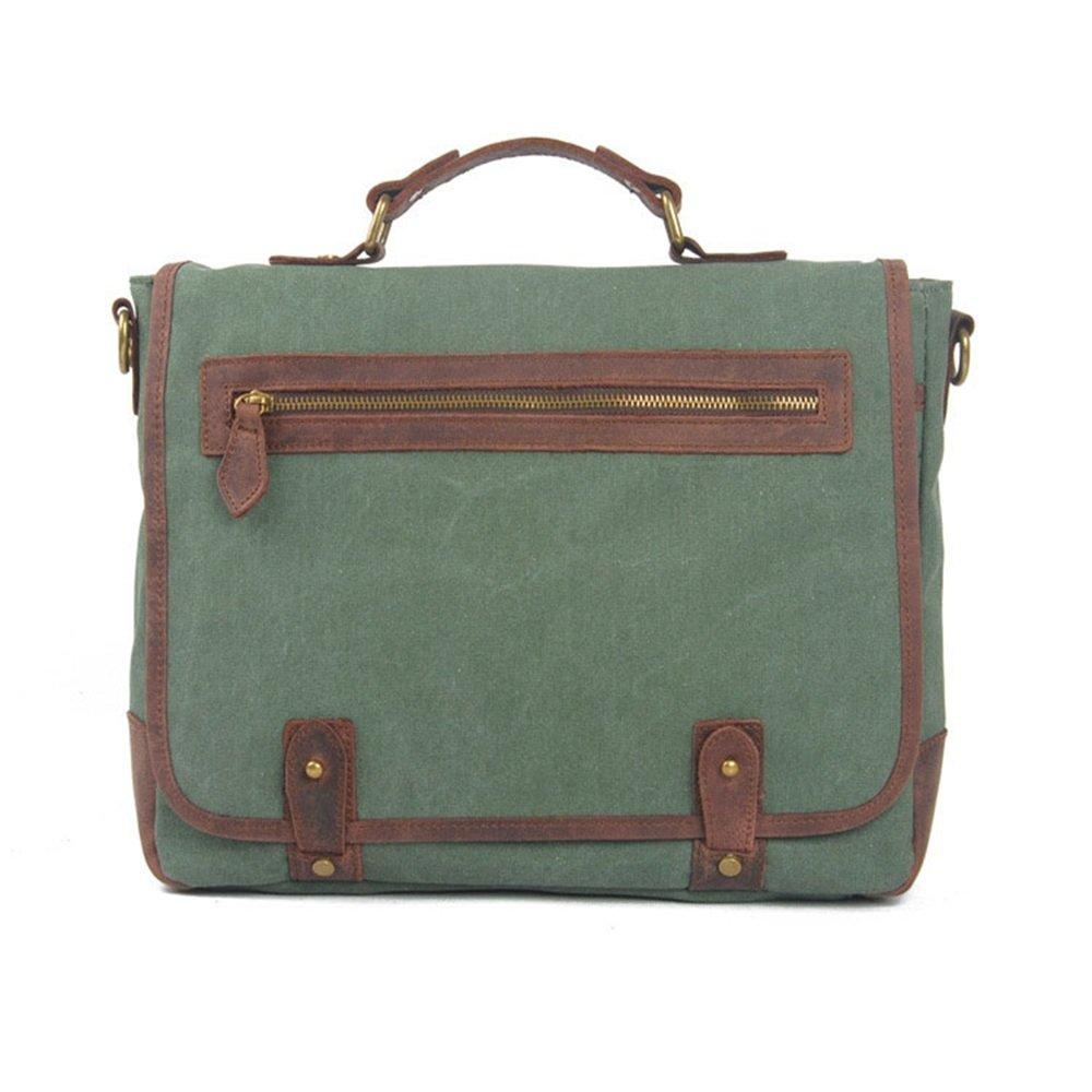 35 8 27cm Briefcase Green KTYXDE Vintage Casual One-Shoulder Slung Mens Bag British Canvas Portable Casual Briefcase