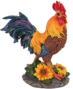 Liineparalle Home Courtyard Garden Decoration Garden Rooster Statues Chicken Farm Animals Decoration Figurine Collection Rooster Model Statue Sculpture Art Craft(1#)