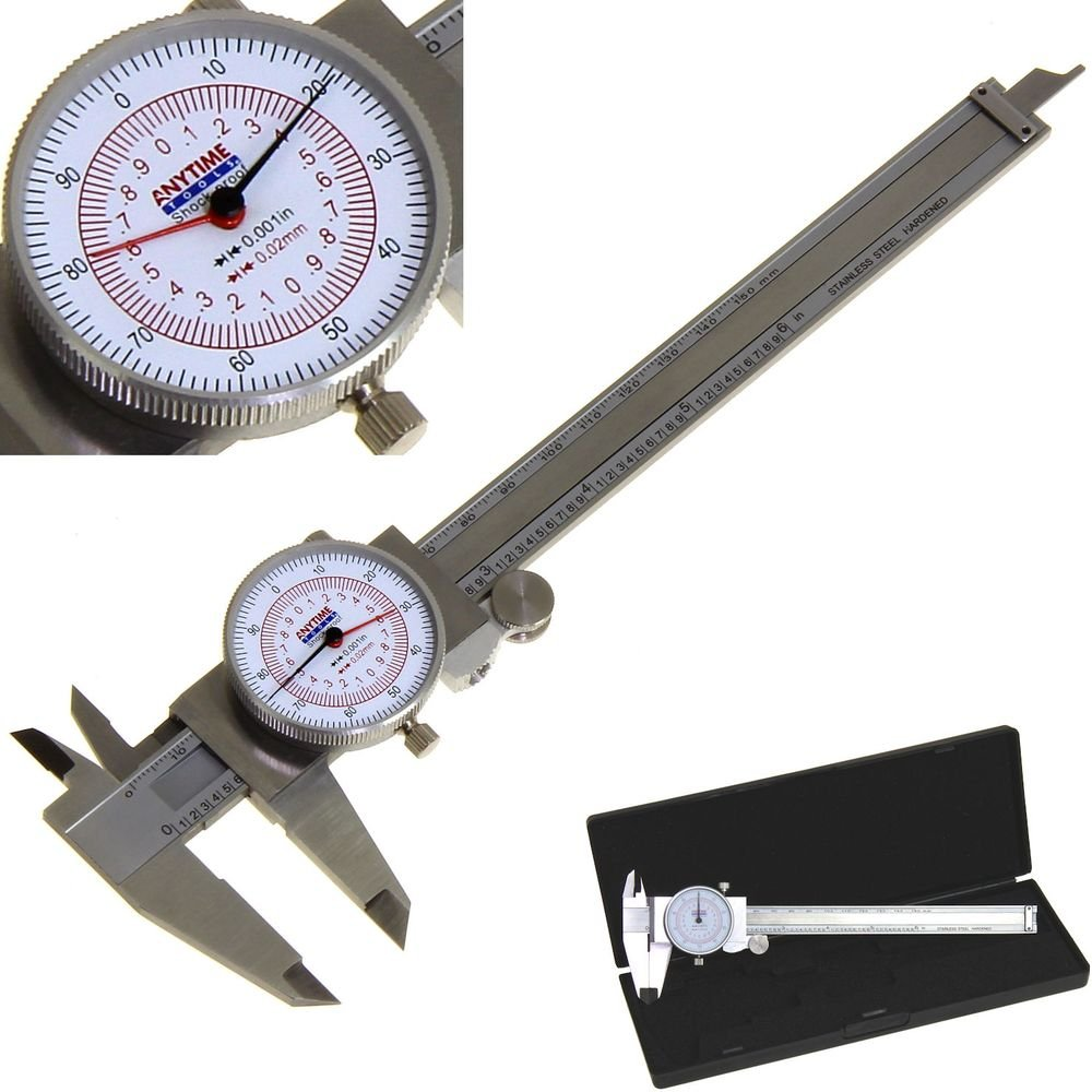 Anytime Tools Dial Caliper 6'' / 150mm DUAL Reading Scale METRIC SAE Standard INCH MM
