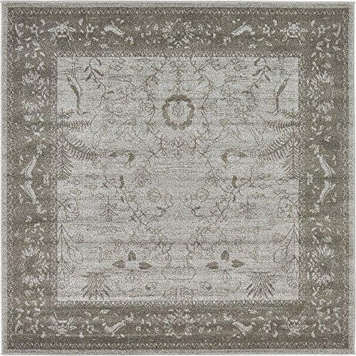 (Unique Loom La Jolla Collection Tone-on-Tone Traditional Light Gray Square Rug (6' 0 x 6' 0))