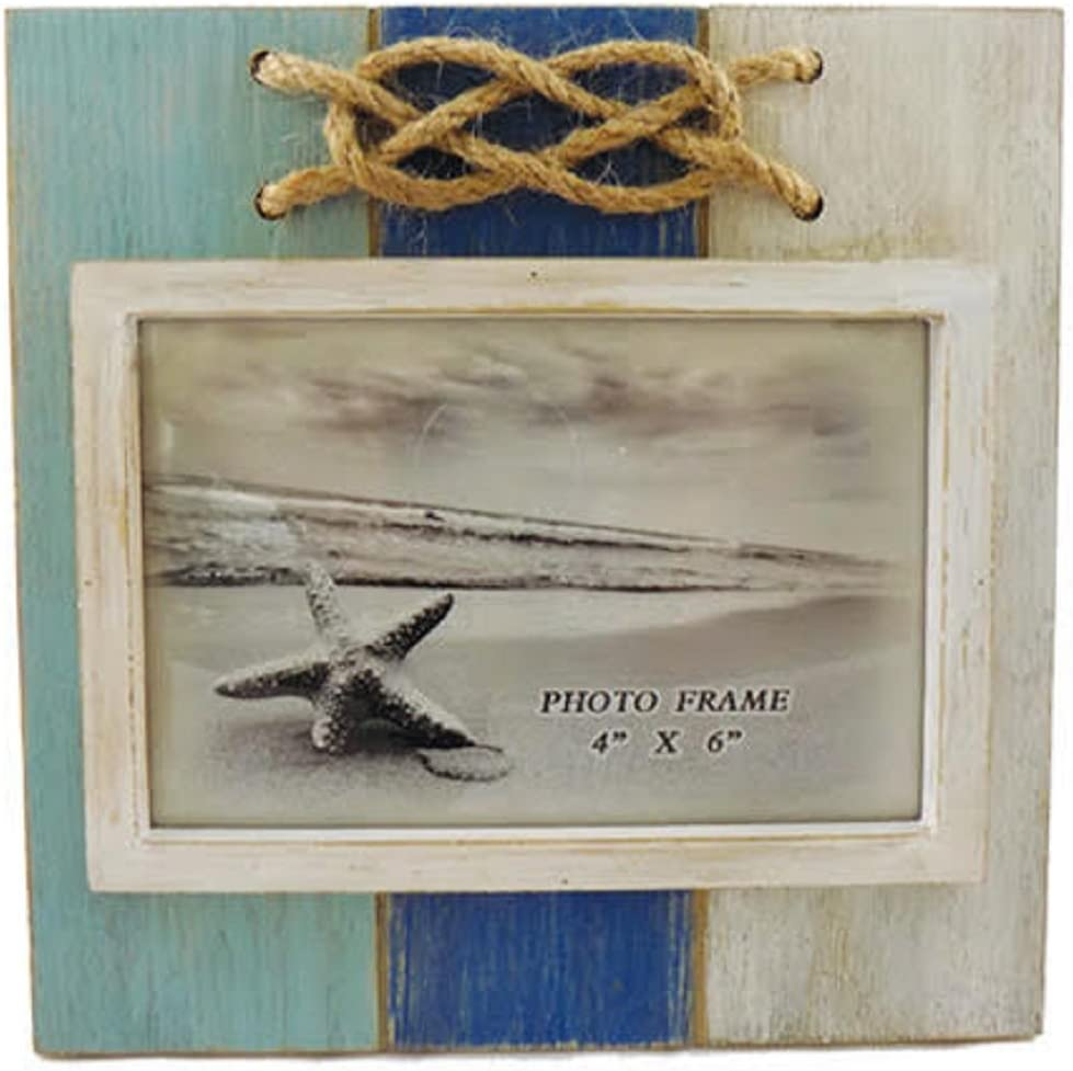 Barry Owens Co. Inc. Wood Aqua, Blue and White Rope Knot Photo Frame, Holds 4 Inch x 6 Inch Picture