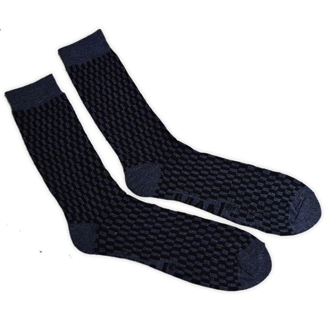 adam & eesa Para hombre Man Basics Varios Diseño Pantorrilla Calcetines Negro y Azul Estampado 6