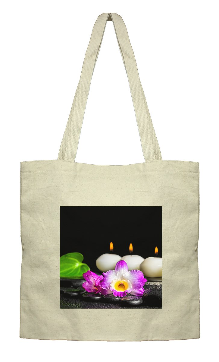 Flat Market Canvas Bag Spa Concept White Candles Orchid Flower By Style In Print