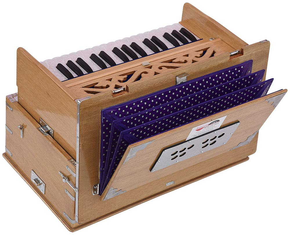 Safri Harmonium- 2¾ Octave By Kaayna Musicals-Portable, Traveler, Baja, 4 Stops (2 Drone), Two Set Reed- Bass/Male, Teak Color, Gig Bag, Tuning: 440 Hz, Suitable for Yoga, Bhajan, Kirtan, Mantra, etc by Kaayna Musicals (Image #2)