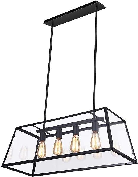 Amazon Com Kitchen Island Light 4 Light Linear Pendant Island Lighting Adjustable Hard Rod Transparent Acrylic Panel Included E26 Bulbs Home Improvement