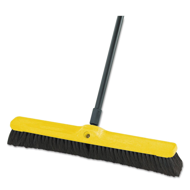 Rubbermaid Commercial - Fine Floor Sweeper, Tampico/Horsehair, 24''Brush, 3''Bristles, Black, 12/Carton