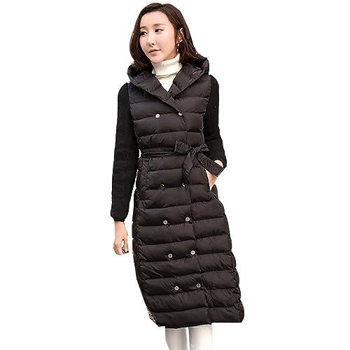 WTUS Abrigo con capucha de invierno nuevo moda para mujer,negro