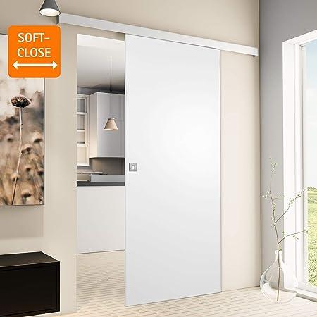 Puerta corredera de madera de Inova Star, para habitaciones, de 880 x 2035 mm, color blanco, juego completo con rieles de aluminio y madera de núcleo sólido, incluyejuego de anclajes, Quadratgriff+Softclose: Amazon.es: