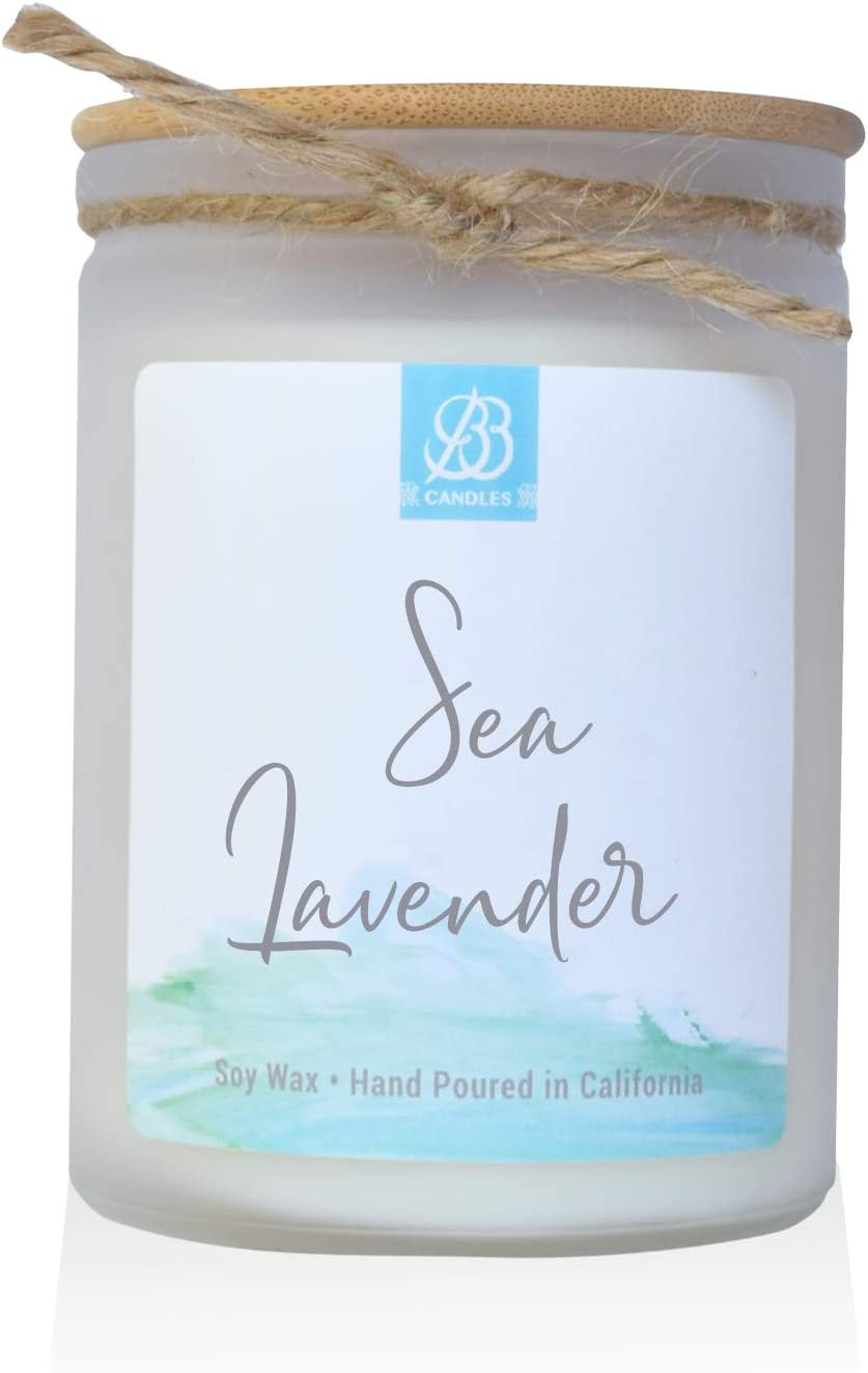 BB Candles Coastal Essentials Natural Soy Hand Poured Candle, Sea Lavender Scent, Fragrant Coastal Candle with Strong Scents, Artisan Candle, 12oz, 90+ Hours Burn Time