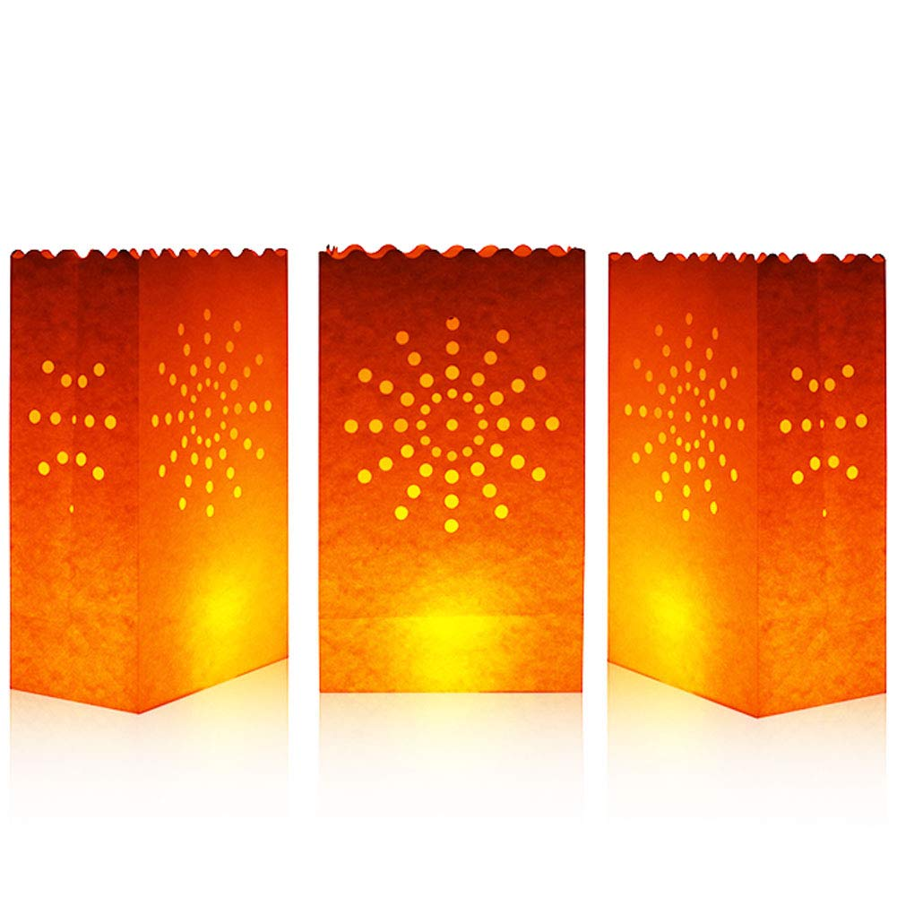 20 Count Flame Resistant Paper - 01 Cospring Luminary Bag Candle Bag Light Holder for Home Outdoor Christmas Wedding Reception Holiday Party and Event Occasion Decoration