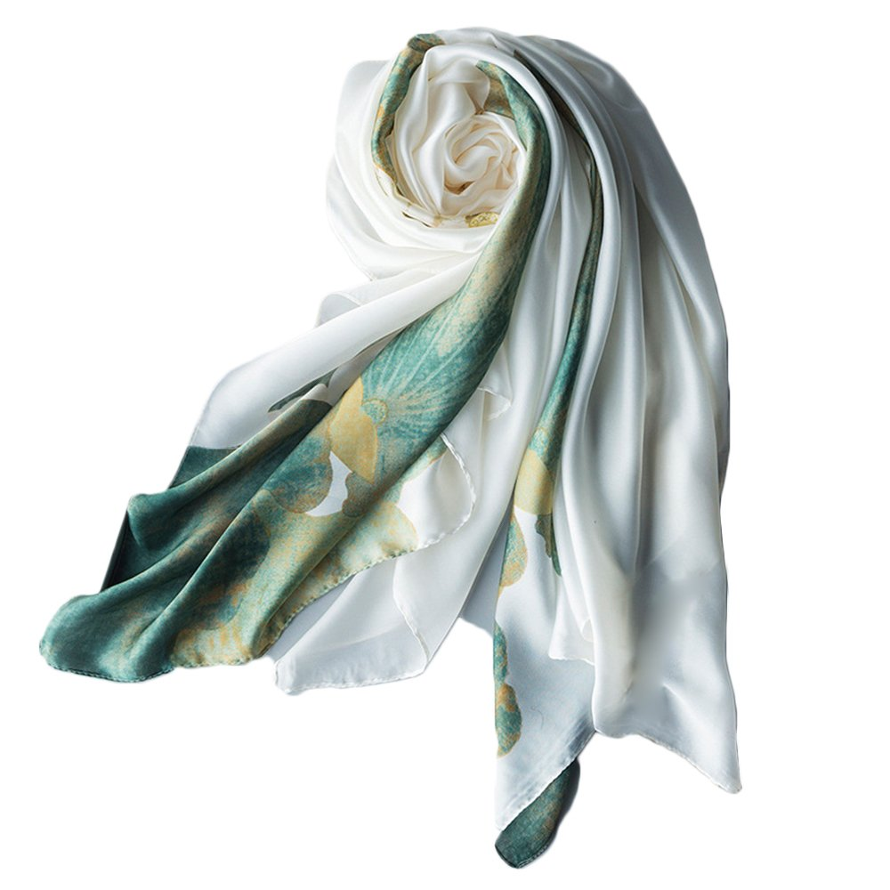 YEX Women Scarves Satin Silk Lotus Floral Prints Long Lightweight Sunscreen Shawls Scarf for Women 35 x 70 inches (White)