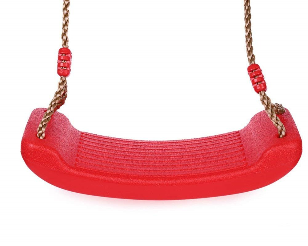 Outdoor Swings Set for Kids, XDeer Patio Swing Seat with Hemp Rope (Red)
