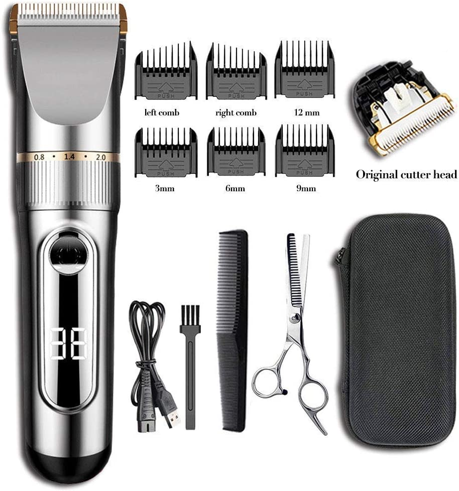 upgraded version Ensving Hair Clippers,2-Speed Professional Rechargeable Cordless Electric Hair Trimmer,Low Noise Beard Trimmer, Whole Body Washable Hair Cutting Kit, Multi-Purpose Haircut for Men,B