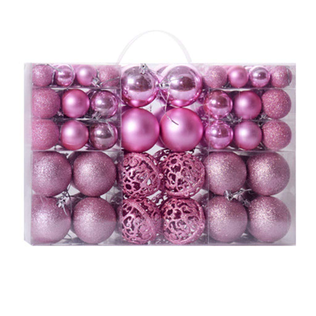 GXOK 100PC 30/60mm Christmas Xmas Tree Ball Bauble Hanging Home Party Ornament Decor Xmas Decoration Gifts (Pink) by GXOK