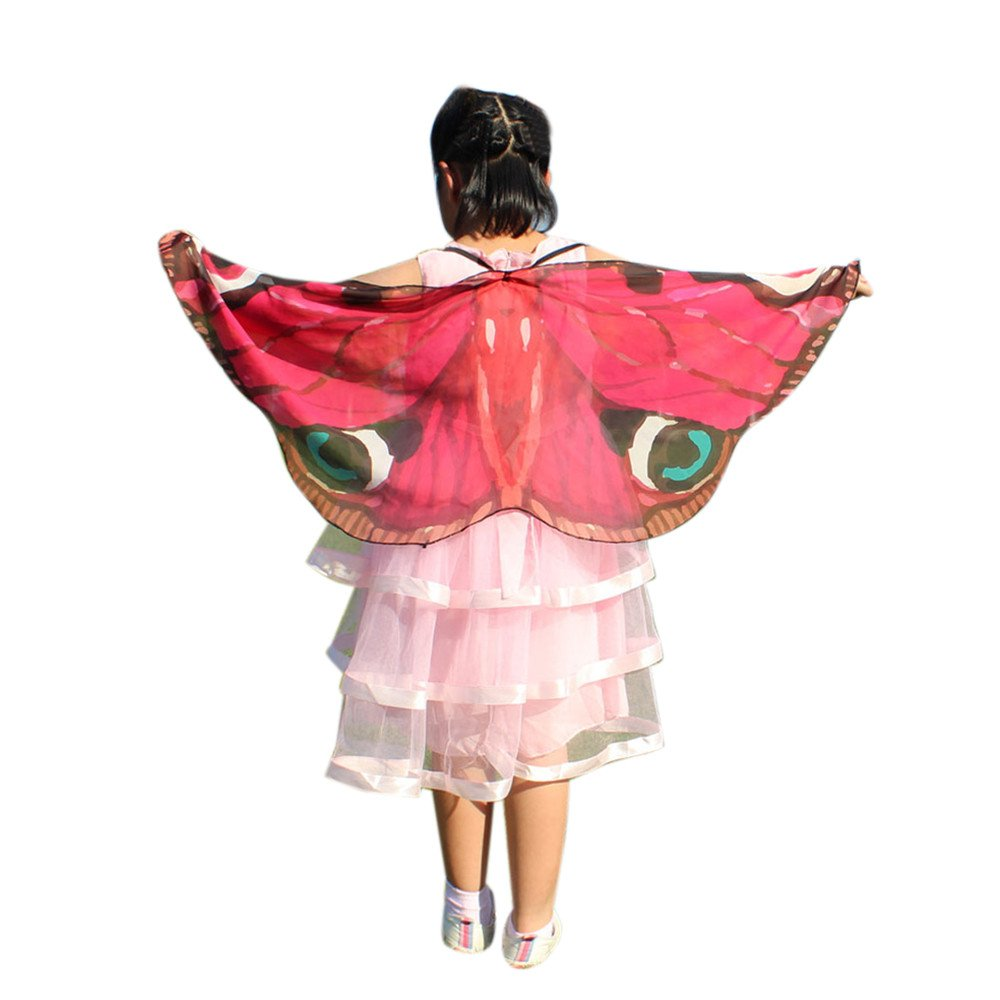 NUWFOR Christmas Womens, Soft Fabric Butterfly Wings Shawl Fairy Ladies Nymph Pixie Costume Accessory?Hot Pink?One Size?