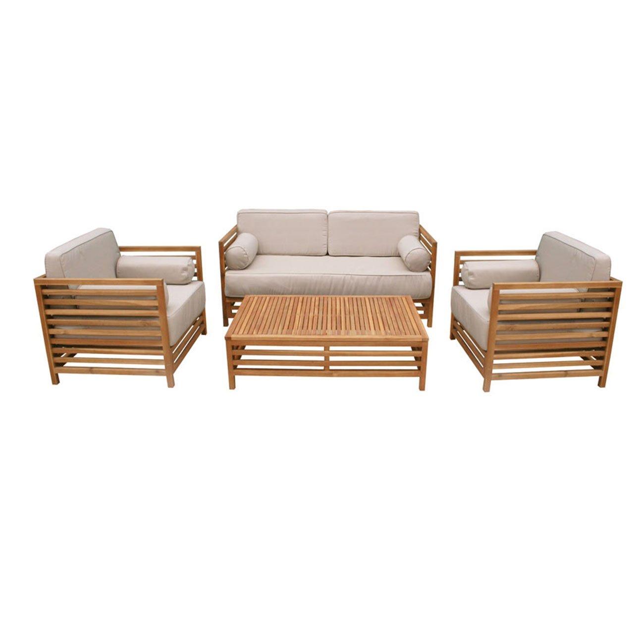Gartenlounge OUTLIV. Belray Loungeset 4-tlg. Akazie Teaklook / Kissen ecru 712801-855803